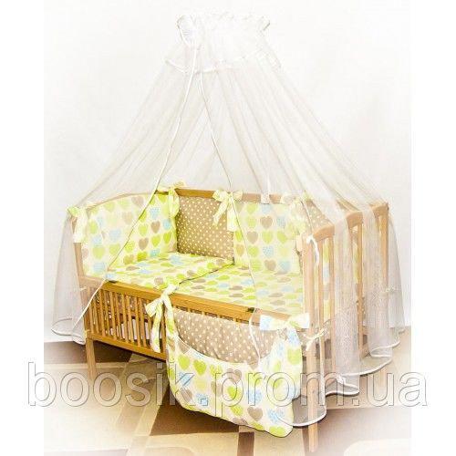 """Детский постельный комплект 8 в 1 """"Сердечки салатовые"""""""