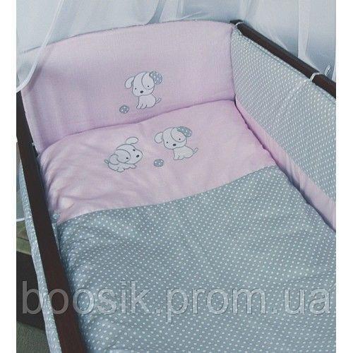 """Детский постельный комплект с конвертом """"Песик розовый"""""""
