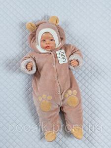 Демисезонный комбинезон для новорожденных коричневый