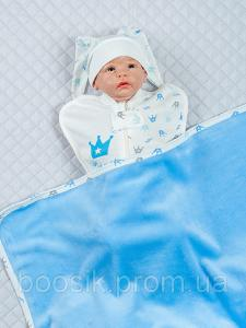 Детский плед (велсофт) голубой