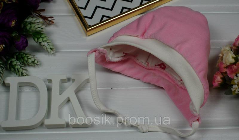 Шапочка велюровая с завязками розовая
