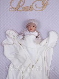 Детский плед (велсофт) кремовый