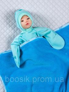 Детский плед (велсофт) синий
