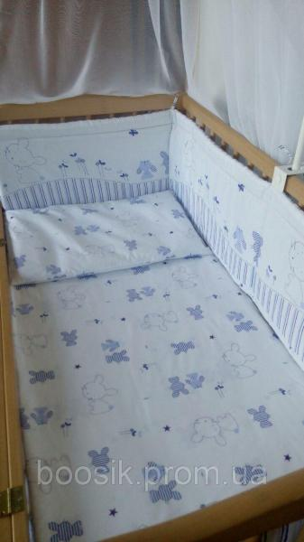 """Защита для детской кроватки """"Зайчик"""" голубой"""