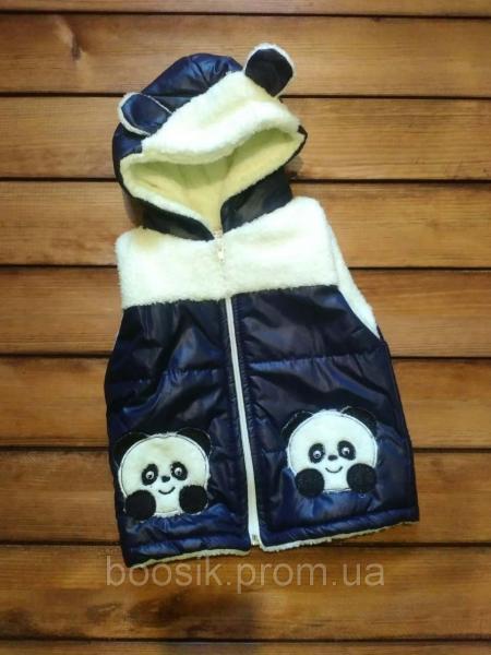 """Жилет """"Панда"""" с капюшоном темно-синий размер 2-3 года"""