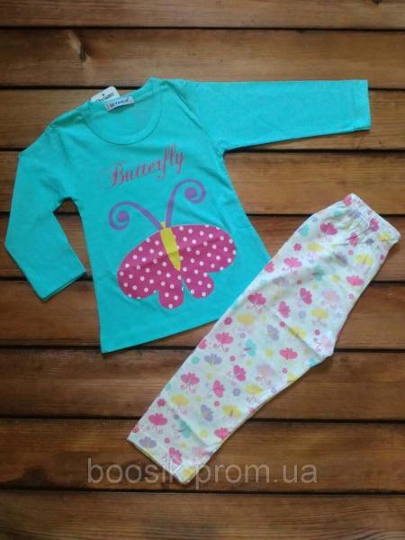 """Пижама """"Бабочка"""" мятная размер 1 год (86), 2 года (92)"""