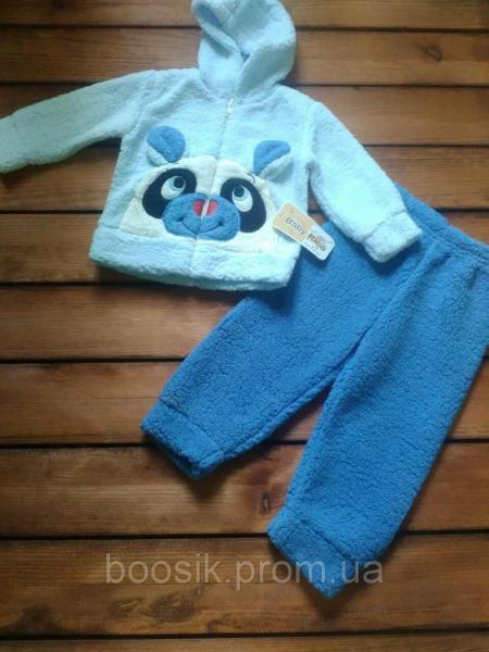 "Костюм ""Панда"" теплый махровый голубой размер 9 месяцев"