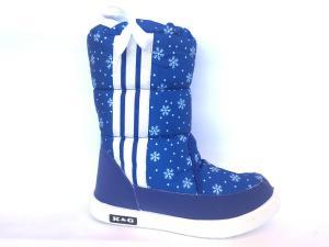 Фото Зимняя детская и подростковая обувь Зимние дутики, сапоги для девочек Д-8 василек(снежинка)