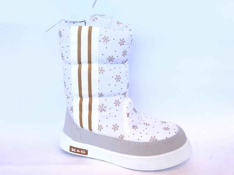 Зимние дутики, сапоги для девочек Д-8 белые(снежинка)