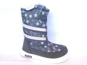 Фото Зимняя детская и подростковая обувь Зимние дутики, сапоги для девочек Д-3 серая(снежинка)