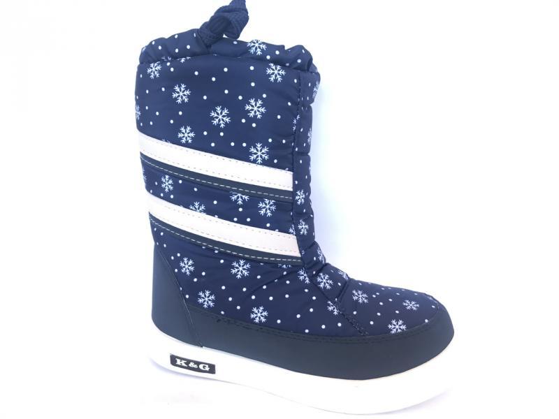 Зимние дутики, сапоги для девочек Д-3 синий(снежинка)