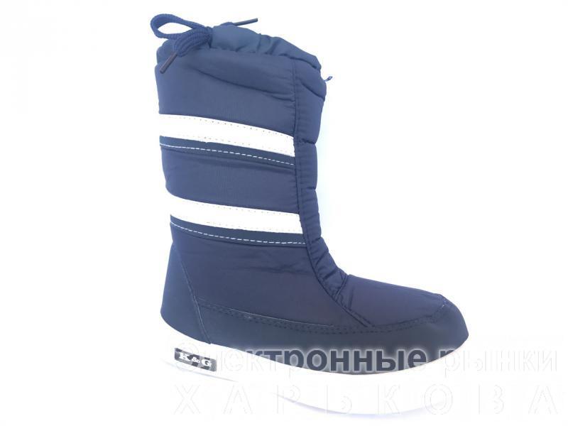 461030aba Зимние дутики, сапоги для девочек Д-3 синий - Зимняя детская и подростковая  обувь на рынке Барабашова