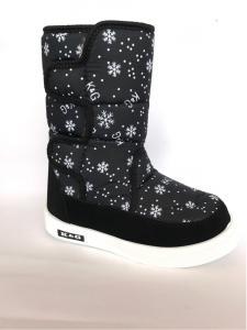 Фото Зимняя детская и подростковая обувь Зимние дутики, сапоги для девочек Д-6 черные(снежинка)