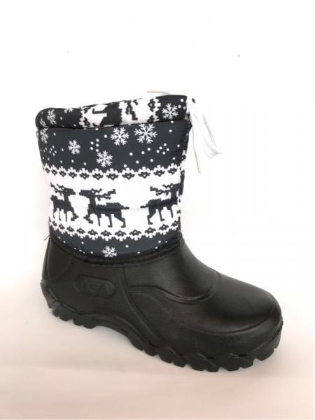 Зимние дутики, детские на пене П-1 черные(снежинка)