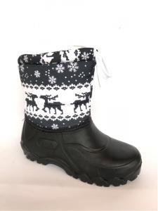Фото Зимняя детская и подростковая обувь Зимние дутики, детские на пене П-1 черные(снежинка)