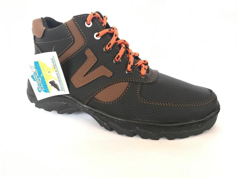Ботинки спортивный мужские черный/кофейный  на шнурке PERFECT Б-10
