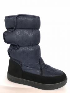 Фото Обувь зимняя женская, сапоги, ботинки Сапоги дутики женские аляска КИЕВ синие (липучка) -1