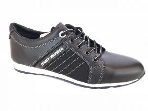 Фото Спортивные туфли и мокасины мужские Туфли спортивный на шнурках мужские черный ANKOR №31(бел)