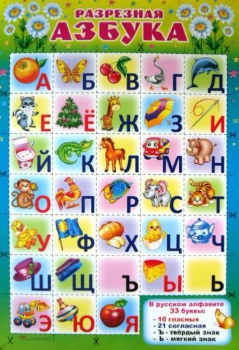 """Плакат """"Русская АЗБУКА"""" 024 (разрезная)"""