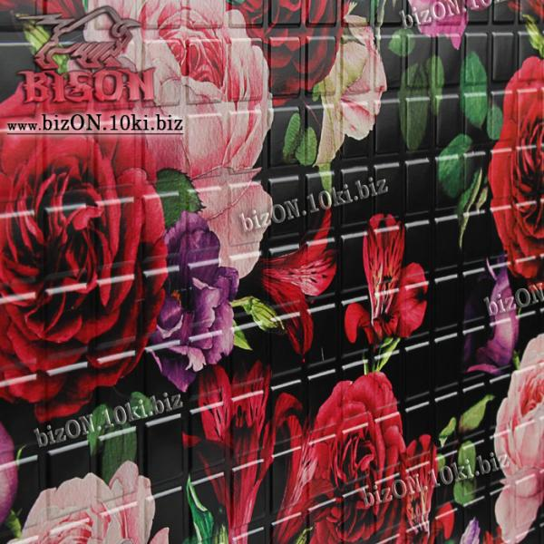 Фото Листовые панели ПВХ Панно «РОЗЫ НА ЧЕРНОМ» (3 листа в комплекте)   Листовые панели ПВХ