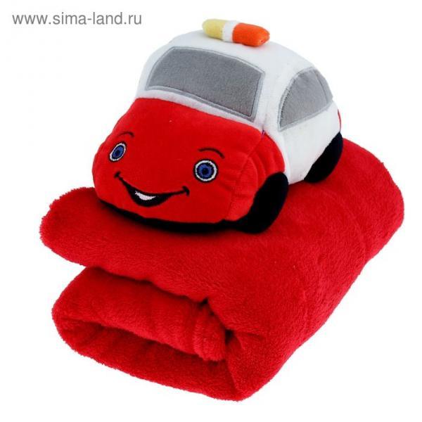 """Плед с игрушкой для новорождённых """"Этелька"""" Такси ред, размер 75х100 см"""