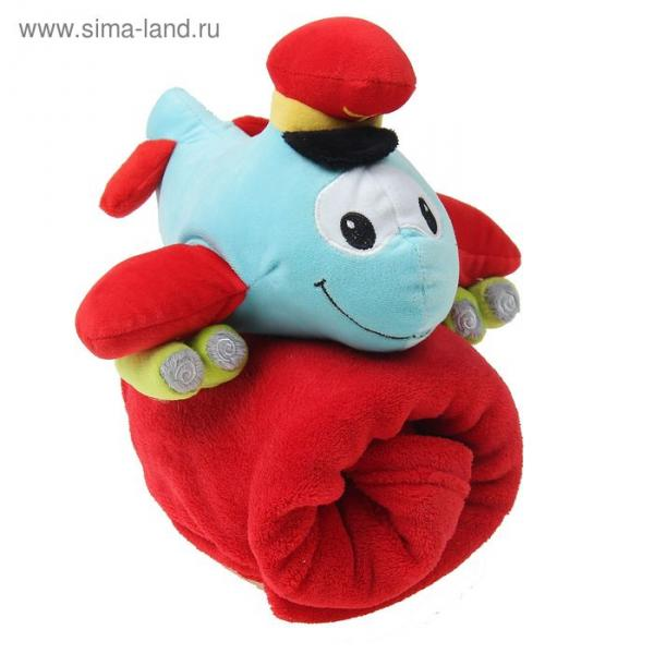 """Плед с игрушкой для новорождённых """"Этелька"""" Самолет блю, размер 75х100 см"""