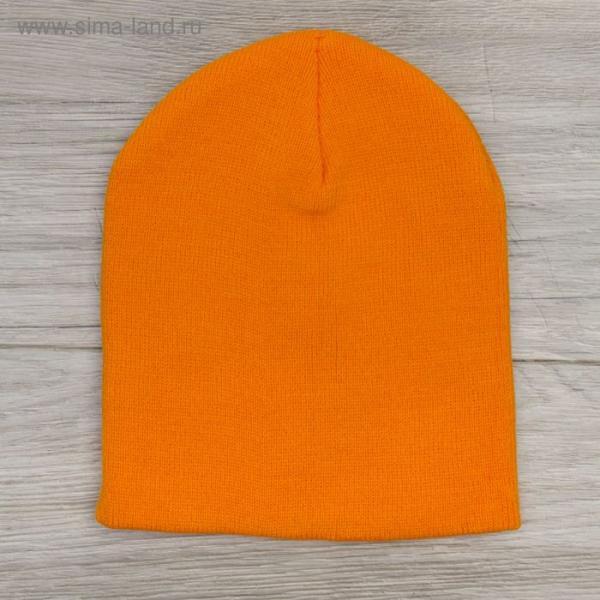 Шапка демисезонная, р-р 56, цвет оранжевый, акрил 100%