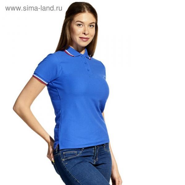 Рубашка-поло женская StanRussian, размер 46, цвет синий 185 м/г 04WRUS