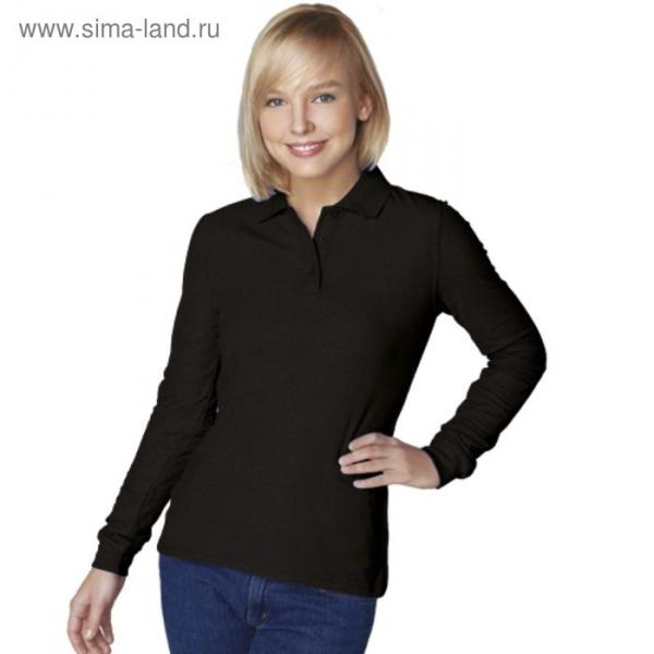 Рубашка-поло женская StanPolo, размер 46, цвет чёрный 185 г/м 04SW