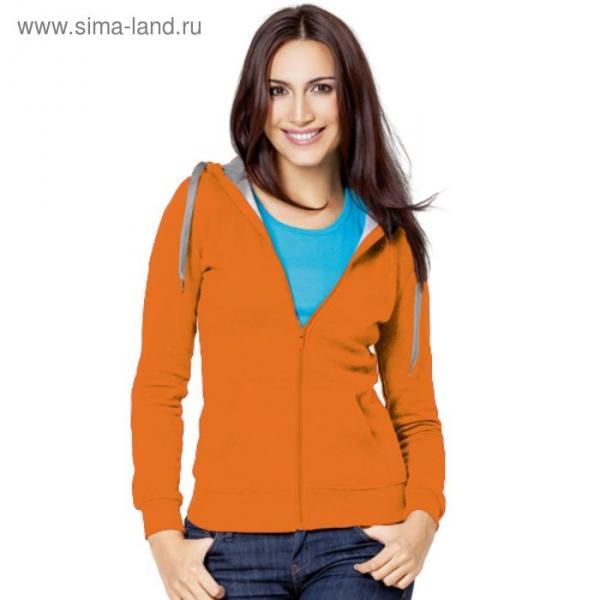 Толстовка женская StanStyle, размер 42, цвет оранжевый-серый меланж  280 г/м 17W