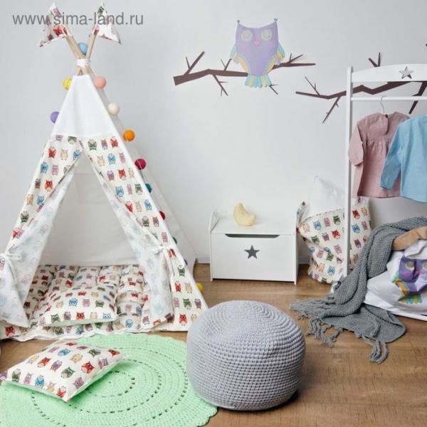 Вигвам  для детей с окном, карманом, забавные совы, 110x110x160 см