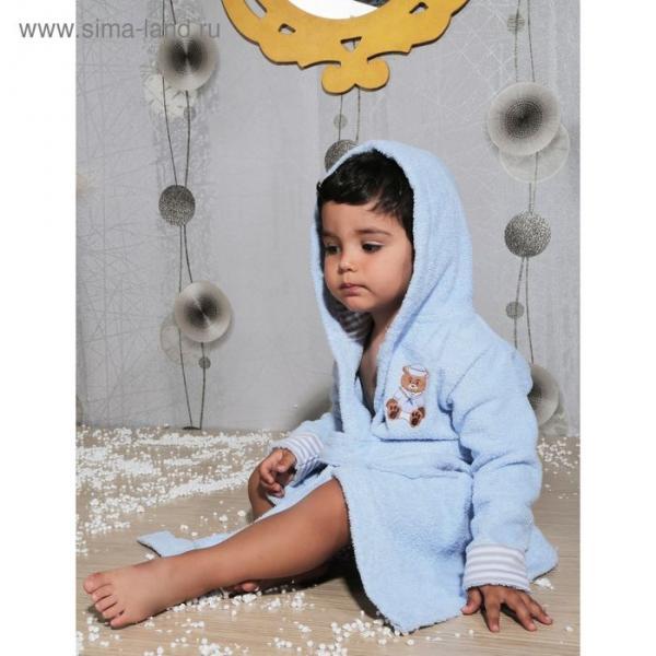 Халат детский махровый с капюшоном Teeny, 2-3 года, цвет голубой 912/1