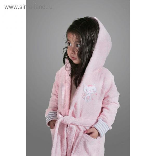 Халат детский махровый с капюшоном Teeny, 2-3 года, цвет розовый 912/2