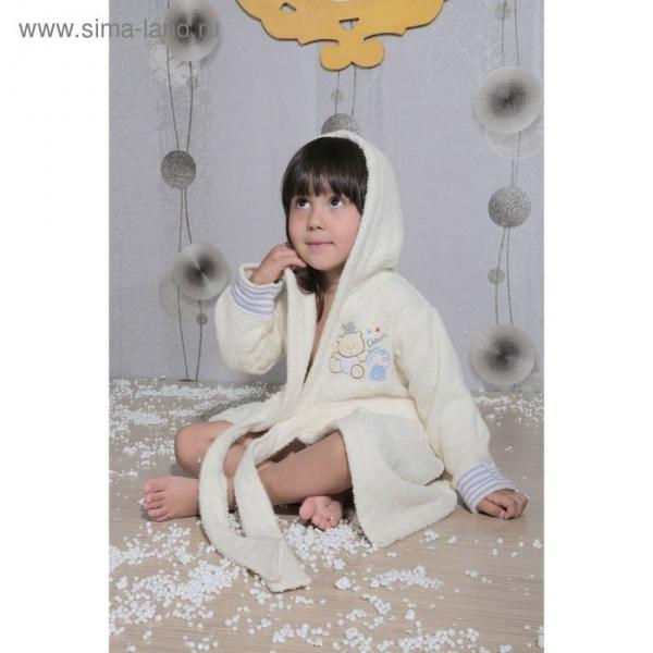 Халат детский махровый с капюшоном Teeny, 4-5 лет, цвет кремовый 912/3