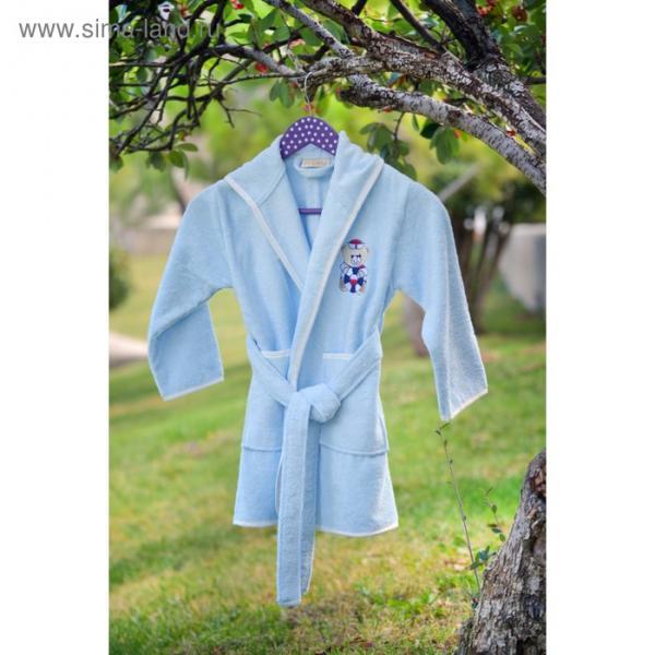 Халат детский с вышивкой, 3-5 лет, цвет голубой 2944