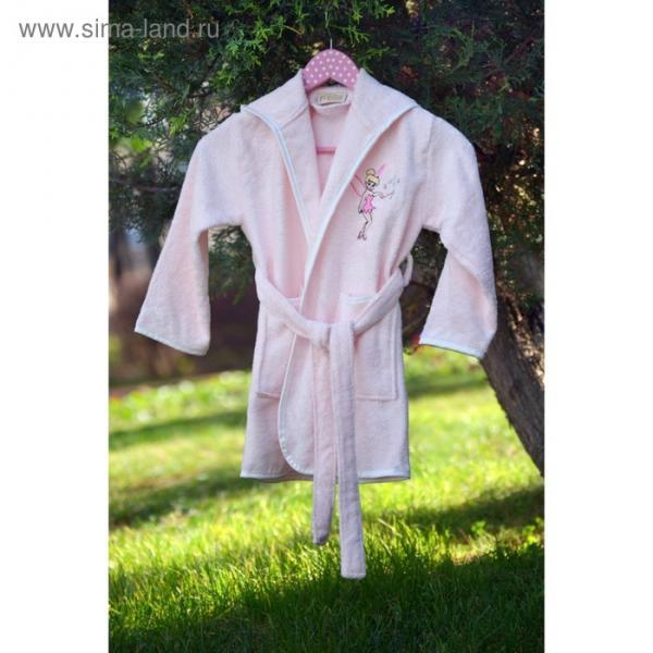 Халат детский с вышивкой, 6-8 лет, цвет пудра 2946