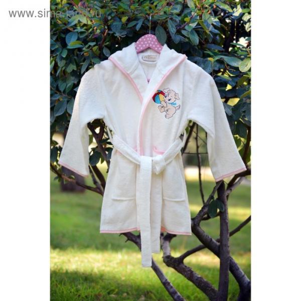 Халат для девочки с вышивкой, 6-8 лет, цвет кремовый 2947