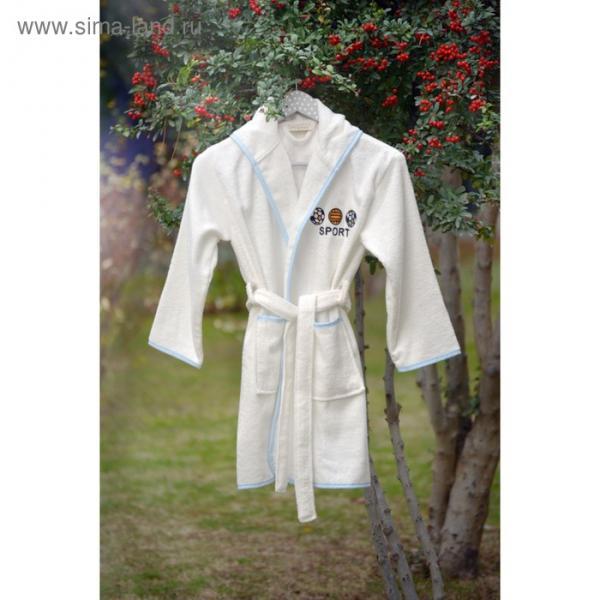 Халат для мальчика Young с вышивкой, 12-14 лет, цвет крем 2956
