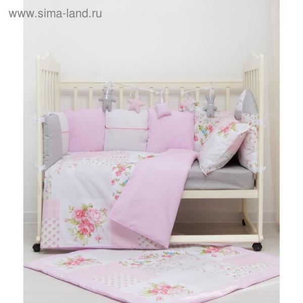 Комплект в кроватку ПРЕМИУМ Цветочки пэчворк, 22 предмета, цв роз/серый, бязь