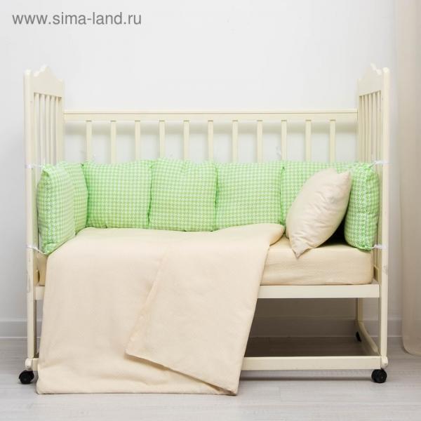 Бампер-подушка Клетка зеленый 40х40см 9шт, поплин 125гр/м хл