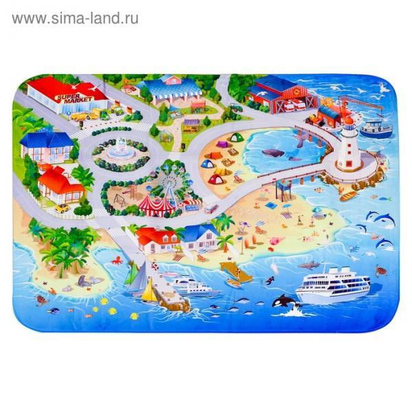 Детский ультрамягкий игровой коврик «На пляже», размер 180х130 см