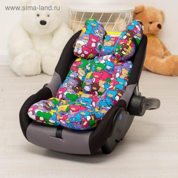 Подушка в коляску 34х70 разноцветная (мишки)