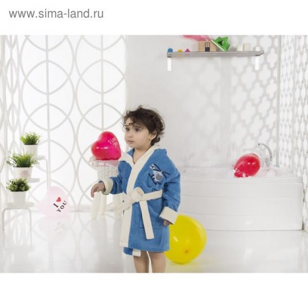 Халат детский с капюшоном Snop, 6-7 лет, цвет синий, махра/велюр