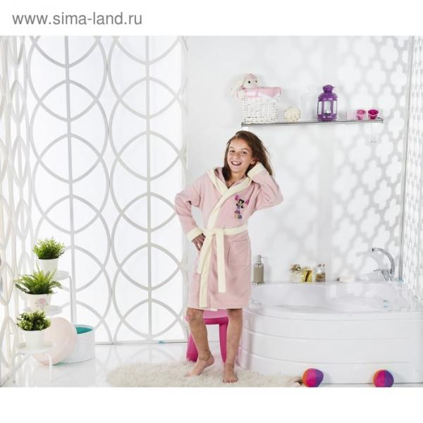 Халат детский с капюшоном Snop, 8-9 лет, цвет пудра, махра/велюр