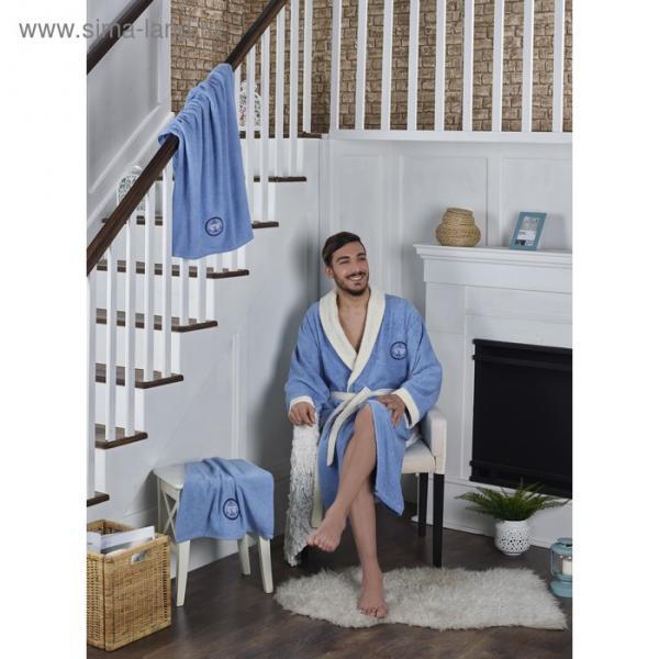 Набор Adra, халат 2XL, полотенца 50х90 см, 70х140 см, по 1 шт., голубой