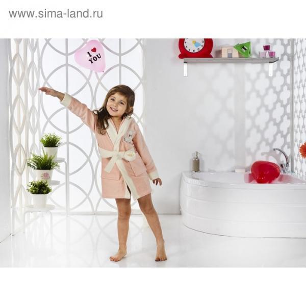 Халат детский с капюшоном Snop, 2-3 года, цвет абрикос, махра/велюр