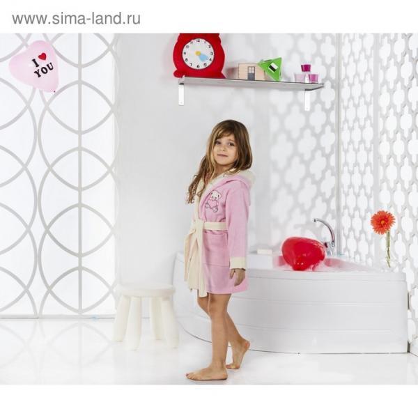 Халат детский с капюшоном Snop, 2-3 года, цвет розовый, махра/велюр
