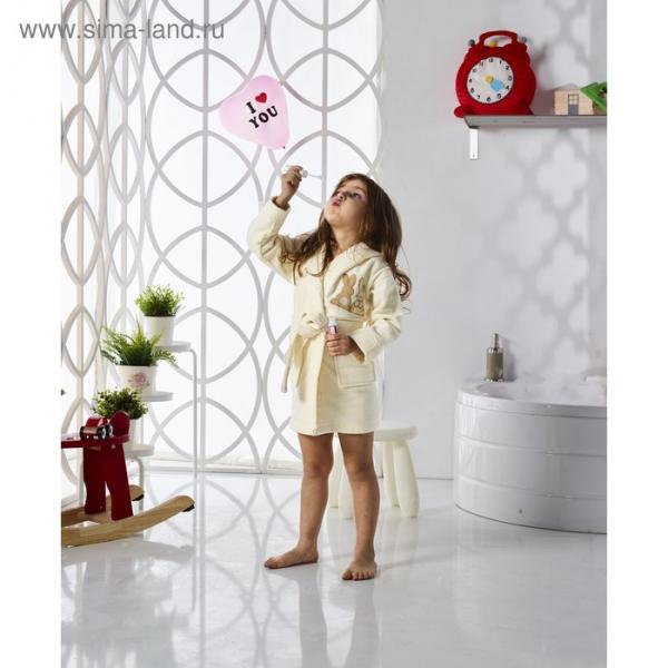 Халат детский с капюшоном Snop, 4-5 лет, цвет кремовый, махра/велюр