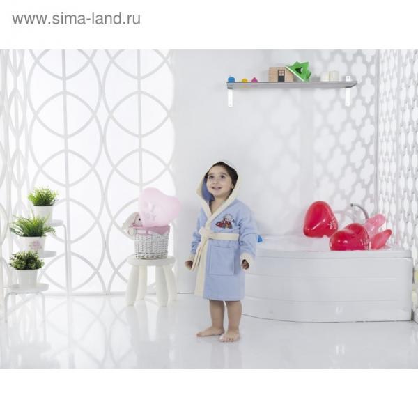 Халат детский с капюшоном Snop, 4-5 лет, цвет голубой, махра/велюр