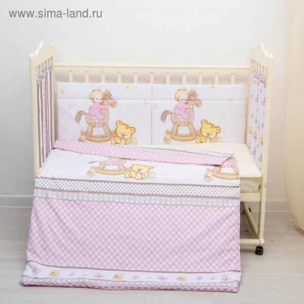"""Комплект в кроватку 6 пр. """"Моя лошадка"""", цвет розовый, бязь, хл100%"""